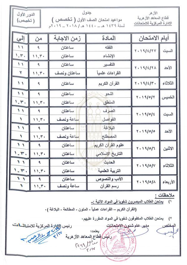 كل جداول 3 ثانوي أزهر جدول امتحانات الثانوية الأزهرية 2019 جدول